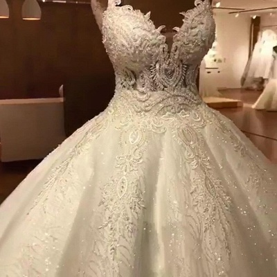 Luxury Ball Gowns Wedding Dresses Cheap | Sexy Spaghetti Straps Lace Bridal Gowns_6
