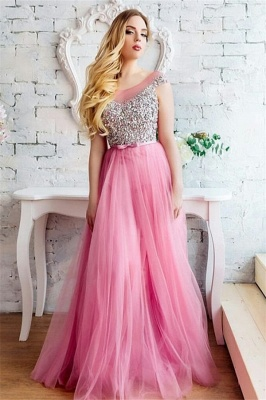 Tulle Scoop Sleeveless Beading Long Evening dresses_1
