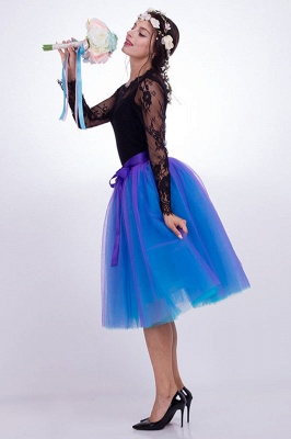 Glorious Tulle Knee-Length Ball-Gown Skirts | Elastic Bowknot Women's Skirts_10