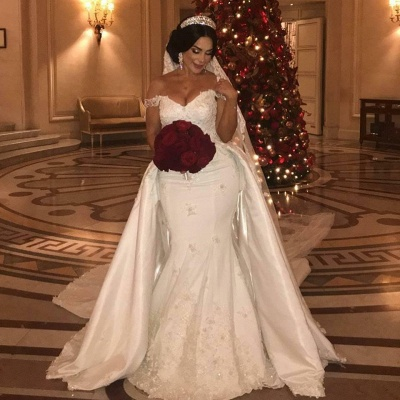 Sexy Off The Shoulder Sweetheart Lace Appliques Wedding Dresses Cheap with Detachable Train_2