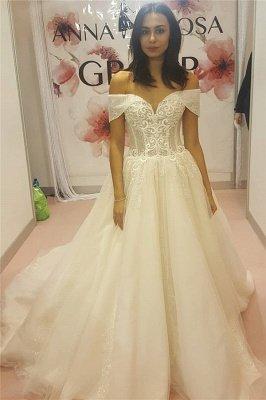 Off-the-Shoulder Sweetheart Sleeveless Appliques Long Wedding Dress