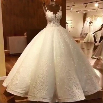 Luxury Ball Gowns Wedding Dresses Cheap | Sexy Spaghetti Straps Lace Bridal Gowns_5