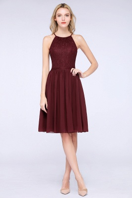 A-line Chiffon Lace Jewel Sleeveless Knee-Length Bridesmaid Dresses with Ruffles