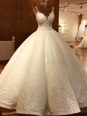Luxury Ball Gowns Wedding Dresses Cheap | Sexy Spaghetti Straps Lace Bridal Gowns_1