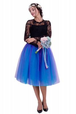 Glorious Tulle Knee-Length Ball-Gown Skirts | Elastic Bowknot Women's Skirts_5