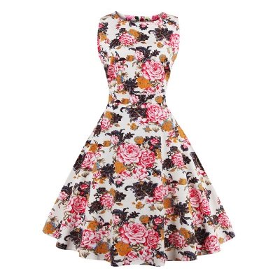 Glorious Jewel Sleeveless A-line Fashion Belted Dresses | Floral Knee-Length Women's Dress
