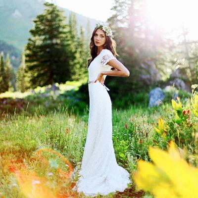 Elegant Lace Appliques Short Sleeve Sheath Wedding Dresses Cheap Online_2