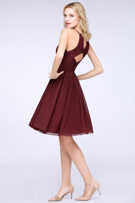 A-line Chiffon Lace Jewel Sleeveless Knee-Length Bridesmaid Dresses with Ruffles_2