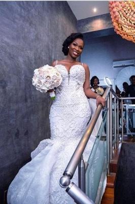 Luxury Beaded Lace Mermaid Sweetheart Wedding Dresses | Spaghetti-Straps Appliques Cheap Bride Dresses_2