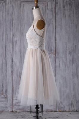 Spaghetti Strap Lace Tulle Short Wedding Dress Aline Formal Dress_5