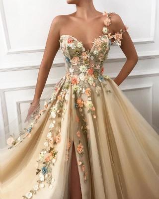 Robe de bal élégante en tulle avec bandoulière et épaule | Chérie sexy appliques fendue robe de bal de fleurs_2