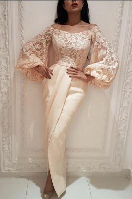 Elegant Lace Off the Shoulder Long Prom Dress | Cheap Long Sleeves Slit Mermaid Prom Dress_1
