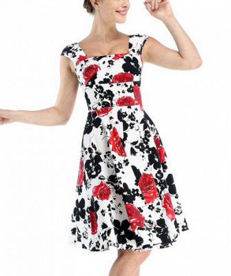 Fascinating Square A-line Knee-Length Floral Dresses | Cap-Sleeves Women's Dresses_3
