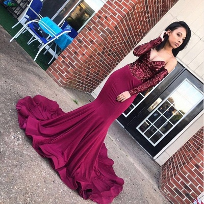 Sexy Off the Shoulder Appliques Prom Dress | Chic V Neck Long Sleeves Prom Gown_2