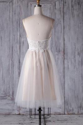 Spaghetti Strap Lace Tulle Short Wedding Dress Aline Formal Dress_3