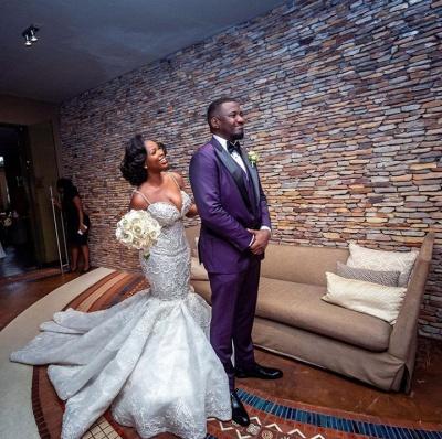 Luxury Beaded Lace Mermaid Sweetheart Wedding Dresses | Spaghetti-Straps Appliques Cheap Bride Dresses_6