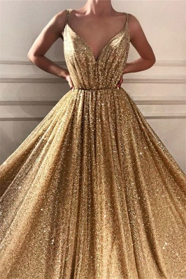 Glamorous Sequins Spaghetti Straps Long Prom Dress | Sparkle V Neck Sleeveless Gold Prom Dress_2