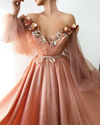 Sexy Off the Shoulder V Neck Long Prom Dress   Chich Tulle Beading Long Sleeves Prom Dress_2