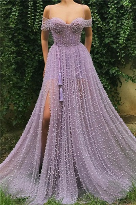 Exquisite Tulle Pearls Off the Shoulder Prom Dress | Sexy Sweetheart Front Slit Long Affordable Prom Dress_1