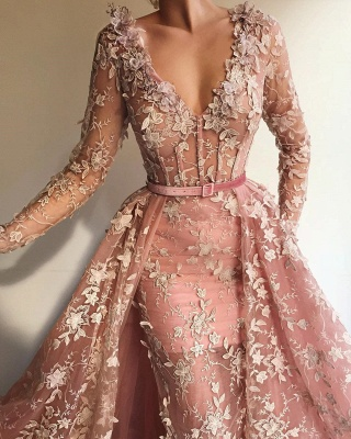 Sexy See Through Tulle Pink Long Sleeves Prom Dress | Charming Mermaid V Neck Appliques Long Prom Dress_2