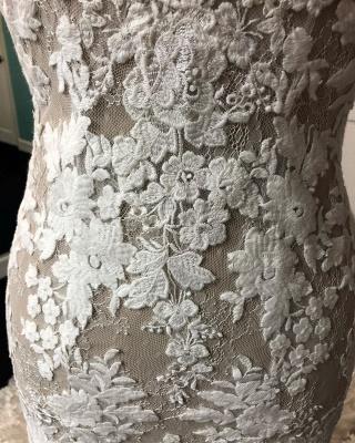 Robe de mariée champagne gaine v - cou | Tulle Blanc Dentelle Sans Manches Longue Robe De Mariée_4