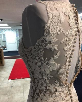 Robe de mariée champagne gaine v - cou | Tulle Blanc Dentelle Sans Manches Longue Robe De Mariée_3