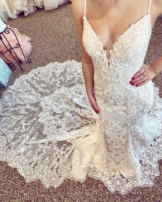 Luxury Lace Beading Chapel Train Champagne Wedding Dresses | Cute Spaghetti Straps V-Neck Sleeveless Long Bridal Gowns_2