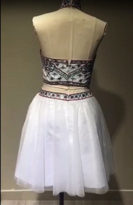 Chic Two Pieces Halter Homecoming Dress | Stylish Appliques Beading Short Cocktail Dress_2