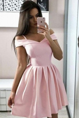 Simple Off the Shoulder Pink Homecoming Dress | Chic Sweetheart Ruffles Affordable Short Cocktail Dress_1