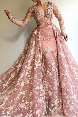 Sexy See Through Tulle Pink Long Sleeves Prom Dress | Charming Mermaid V Neck Appliques Long Prom Dress_1