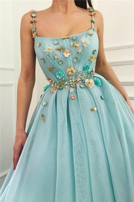 Sexy Spaghetti Straps Sleeveless Long Prom Dress   A Line Beading Flowers Cheap Prom Dress_2