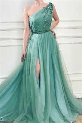 Glamorous One Shoulder Green Tulle Prom Dress with Beading | Sexy Front Slit Long Prom Dress with Beading Sash_1