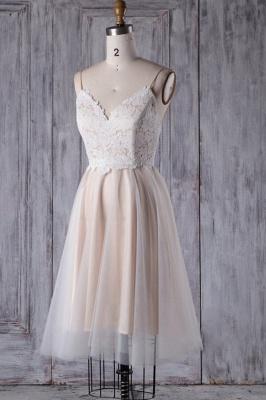 Spaghetti Strap Lace Tulle Short Wedding Dress Aline Formal Dress_4