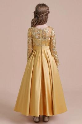 Ankle Length Flower Girl Dress for Weddings| Long Sleeve Satin Little Girls Dress_3