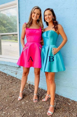 Chic Straps Square Neckline Homecoming Dress | Unique Strapless Short Cocktail Dress with Pockets_1