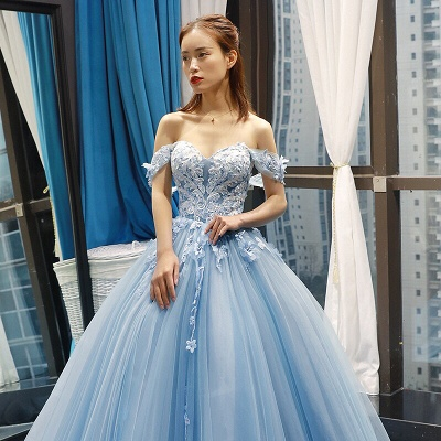 Stylish Ball Gown Off the Shoulder Long Prom Dress | Luxury Sweetheart Lace Appliques Prom Gown_2