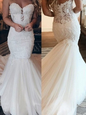 Cheap Strapless Tulle Lace Wedding Dresses | Sexy Mermaid Sleeveless Long Dresses For Weddings_2