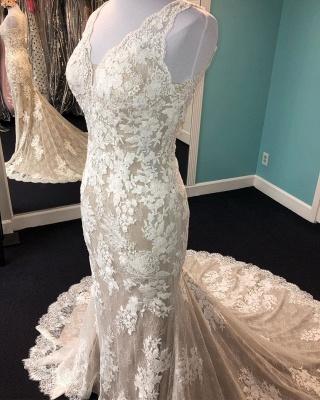 Robe de mariée champagne gaine v - cou | Tulle Blanc Dentelle Sans Manches Longue Robe De Mariée_2