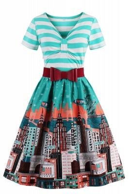Excellent V-neck Stripes A-line Short-Sleeves Fashion Dresses | Bow Belted Women's dresses_2