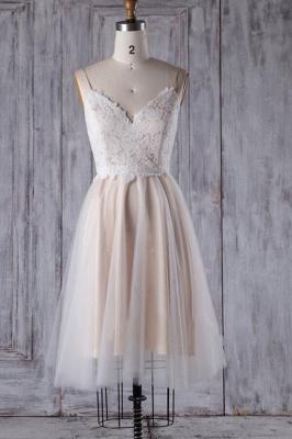 Spaghetti Strap Lace Tulle Short Wedding Dress Aline Formal Dress_1