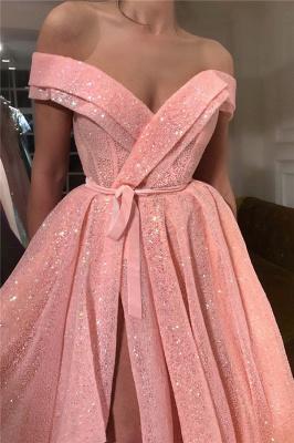 Paillettes scintillantes sur l'épaule robe de bal sweetheart | Robe de bal sexy longue sans manches fendue devant_2