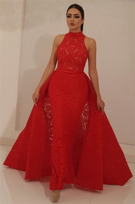 Fantastic High Neck Sleeveless Red Lace Prom Dress   Chic Mermaid Long Prom Dress with Detachable Skirt_1