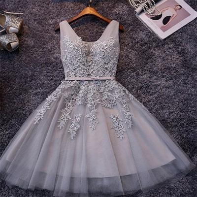 Apliques hinchados Encaje Escote en V Plata Elegante Sexy Vestidos de fiesta cortos_2