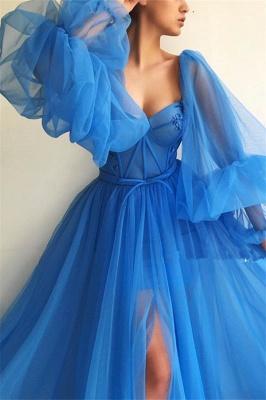 Robe de bal sexy à manches longues et longue encolure en cœur | Robe de bal longue bleue fendue devant_3
