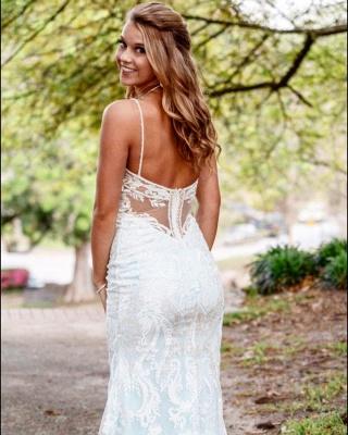 Robe de mariée col V fantastiques avec bretelles spaghetti | Robe de mariée longue en dentelle abordable_2