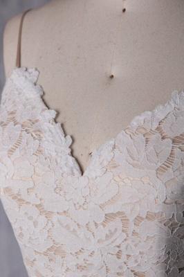 Spaghetti Strap Lace Tulle Short Wedding Dress Aline Formal Dress_6