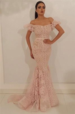 Stylish Off the Shoulder Lace Prom Dress | Chic Mermaid Sleeveless Long Cheap Prom Dress_1