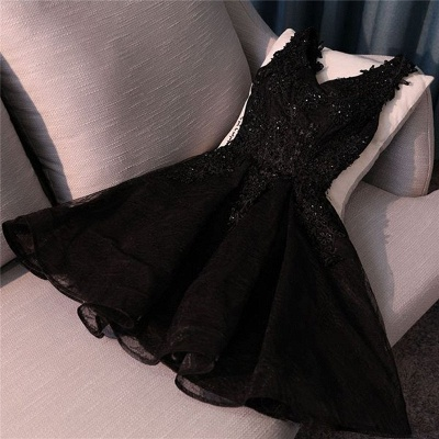 Lace Appliques New Arrival Black Custom Made A-line Beads Sexy Short Homecoming Dresses_2