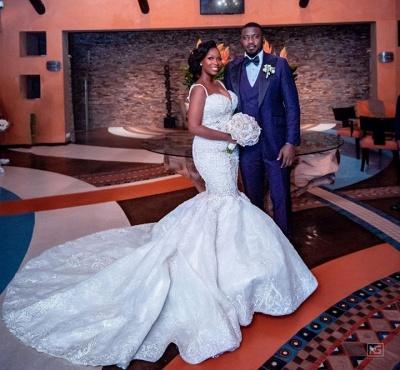 Luxury Beaded Lace Mermaid Sweetheart Wedding Dresses | Spaghetti-Straps Appliques Cheap Bride Dresses_4