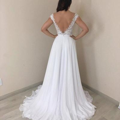 Fantastique robe de mariée manches longues col V   Robe De Mariée En Dentelle Pas Cher_2